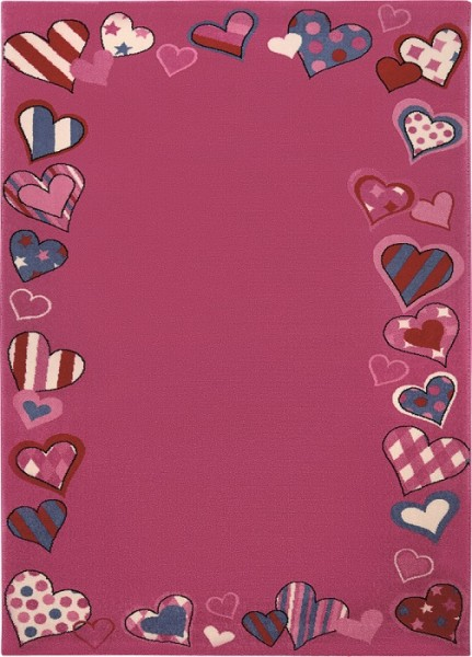 Wecon Home Kinder Teppich » Just Hearts « rosa pink