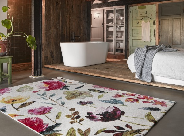 Wecon Home Kurzflor Teppich » Summer Breeze « weiß rot